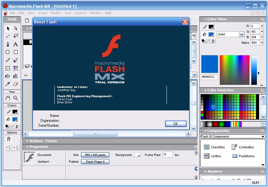 Sebagai permulaan, saya akan menyediakan tutorial Macromedia Flash MX 2004.