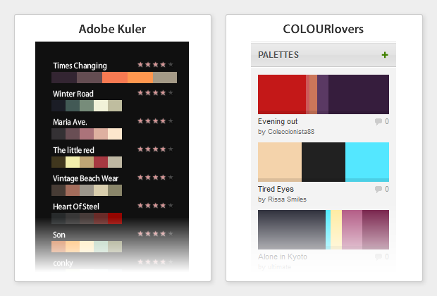 Browsing through color palettes on Kuler & ColourLovers